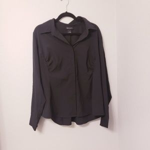 Lane bryant black button down career wear work top
